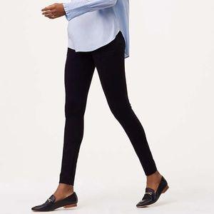 LOFT 0P Leggings Zip Pocket Pintucked Ponte Black